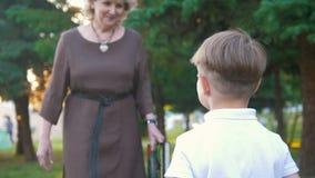 De oma komt tot haar kleinzoon en geeft hem een boek, zonsondergang in het park stock videobeelden