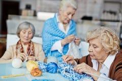 De oma's die Kerstmis breien stelt voor royalty-vrije stock foto