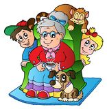 De oma van het beeldverhaal met twee jonge geitjes vector illustratie