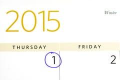 De omcirkelde kalender van april 2015 met April Fools-dag Stock Afbeeldingen