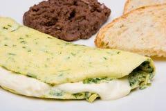 De omelet van de spinazie stock foto's