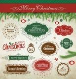 [De Omgezette] elementen van het Kerstmisontwerp Stock Foto