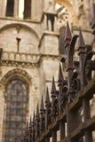De Omheining van het ijzer en Gotische Kathedraal Stock Foto's