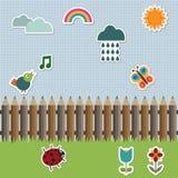 De omheining van het potlood met stickers Stock Foto