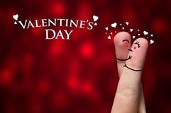 De Omhelzing van de vinger op de dagthema van de Valentijnskaart Royalty-vrije Stock Afbeeldingen