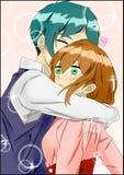 De omhelzing van het Animepaar Royalty-vrije Stock Afbeeldingen