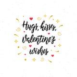 De omhelzingen, kussen, Valentine ` s wenst hand geschreven moderne borstel het van letters voorzien inschrijving Royalty-vrije Stock Afbeelding