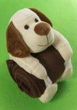 De omhelzings bruine deken van de hondpop op de groene achtergrond Royalty-vrije Stock Fotografie