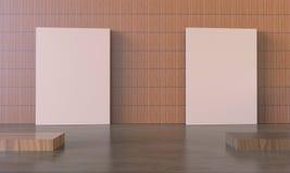 De Omlijsting van de tentoonstellingsvertoning op Moderne muur Royalty-vrije Stock Afbeelding