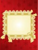 De omlijsting van Kerstmis op rode muur Royalty-vrije Stock Foto