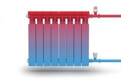 De omloop van hittestroom in het radiator verwarmingssysteem. vector illustratie