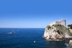 De Ommuurde Stad van Dubrovnic in Kroatië Europa Dubrovnik wordt een bijnaam gegeven `-Parel van Adriatic Stock Afbeelding