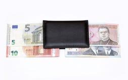 de omschakelings euro uitwisseling 2015 van litaslits januari van de muntstukkenbankbiljetten van Litouwen Royalty-vrije Stock Fotografie
