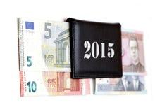de omschakelings euro uitwisseling 2015 van litaslits januari van de muntstukkenbankbiljetten van Litouwen Royalty-vrije Stock Foto's