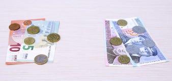 de omschakelings euro uitwisseling 2015 van litaslits januari van de muntstukkenbankbiljetten van Litouwen Stock Afbeeldingen