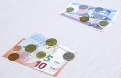 de omschakelings euro uitwisseling 2015 van litaslits januari van de muntstukkenbankbiljetten van Litouwen Royalty-vrije Stock Foto