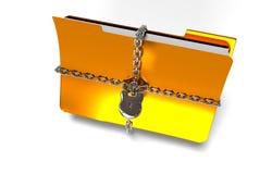 De omslag met ketting en hangslot, verborgen gegevens, 3d veiligheid, geeft terug Stock Afbeeldingen