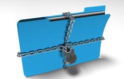 De omslag met ketting en hangslot, verborgen gegevens, 3d veiligheid, geeft terug Stock Afbeelding