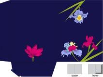 De omslag van de gift met matrijzenbesnoeiing (Iris en violette bloemen) stock illustratie