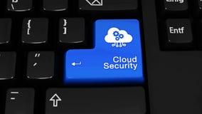 De omwentelingsmotie van de wolkenveiligheid op de knoop van het computertoetsenbord stock footage