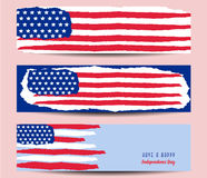 De onafhankelijkheidsdag van banner Gelukkige 4 Juli met vuurwerk bacground Royalty-vrije Stock Afbeelding