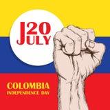 De onafhankelijkheidsdag van Colombia ` s 20 JULI Nationale Patriottische vakantie van bevrijding in Latijns Amerika De dichtgekl Stock Fotografie