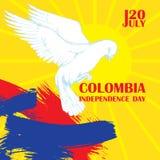 De onafhankelijkheidsdag van Colombia ` s 20 JULI Nationale Patriottische vakantie van bevrijding in Latijns Amerika Witte Tuimel Royalty-vrije Stock Foto's