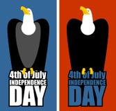 De Onafhankelijkheidsdag van de V Eagle en het van letters voorzien Roofvogel zitting royalty-vrije illustratie