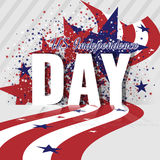 De Onafhankelijkheidsdag van de V.S. Abstracte Amerikaanse achtergrond met golvende gestreepte vlag en sterrig patroon Royalty-vrije Stock Afbeelding