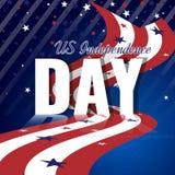 De Onafhankelijkheidsdag van de V.S. Abstracte Amerikaanse achtergrond met golvende gestreepte vlag en sterrig patroon Stock Foto's