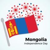 De onafhankelijkheidsdag van Mongolië ` s Illustratie met vlag en vuurwerk Royalty-vrije Stock Afbeeldingen