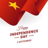 De onafhankelijkheidsdag van Vietnam 2 September Golvende Vlag Vector illustratie stock illustratie