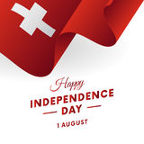 De Onafhankelijkheidsdag van Zwitserland 1 August Waving-vlag in hart Vector Royalty-vrije Stock Afbeeldingen