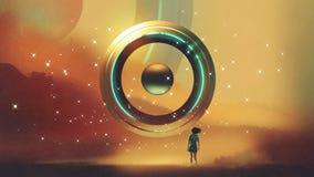De onbekende drijvende cirkel vector illustratie