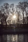 De onderbrekingen van de de zonsondergangstraal van de zon door de takken van de herfstbomen stock foto's