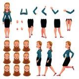 De onderneemster, de verwezenlijking van het vrouwenkarakter met verschillend wordt geplaatst stelt, gebaren, gezichten dat vector illustratie
