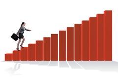 De onderneemster die grafiek in economisch herstel concept beklimmen stock fotografie