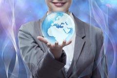 De onderneemster in globaal bedrijfsconcept Royalty-vrije Stock Foto's
