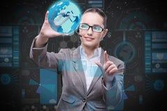 De onderneemster in globaal bedrijfsconcept Stock Afbeeldingen