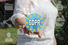De onderneemster kiest GDPR op het aanrakingsscherm Royalty-vrije Stock Foto