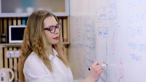 De onderneemster maakt een presentatie in het bureau Schrijft teller op een witte raad stock footage