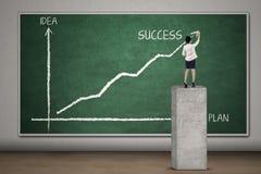De onderneemster maakt grafiek voor succes 1 Royalty-vrije Stock Afbeelding