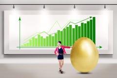 De onderneemster maakt grote winst stock afbeeldingen
