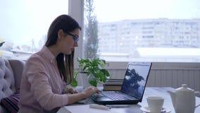 De onderneemster in oogglazen die laptop met behulp van en schrijft nota's met blauwe teller in notitieboekjezitting bij een lijs stock footage