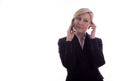 De onderneemster op de telefoon heeft tevredengesteld Stock Foto