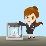 De onderneemster toont 3D printer Stock Afbeelding