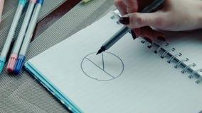 De onderneemster trekt de grafiek in een notitieboekje stock videobeelden