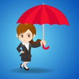 De onderneemster van de beeldverhaalillustratie met paraplu Stock Afbeeldingen