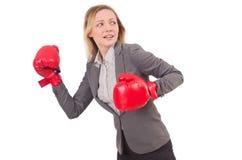 De onderneemster van de vrouw met bokshandschoenen Royalty-vrije Stock Fotografie