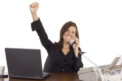 De onderneemster van het succes op de telefoon Stock Foto's
